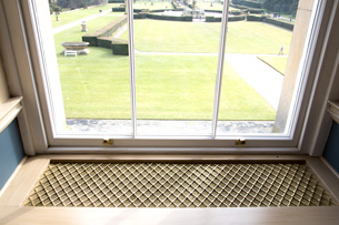 Castle Howard window seat in regency diamond.